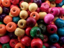 LOT DE 200 PERLES RONDES EN BOIS MULTICOLORE 6 x 5 mm - CREATION BIJOUX