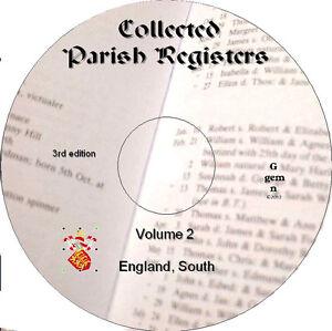 360+ Parish Registers genealogy records Vol 2 South England  on DVD