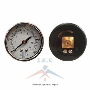 "Air Compressor Pressure / Hydraulic Gauge 2"" Face Back Mount 1/8"" NPT 0-200 PSI"