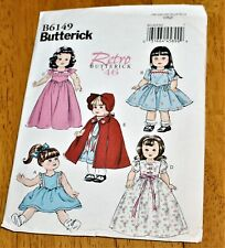 Butterick: Pattern #6149 Retro 1946 Doll Clothes 18 Inch Doll - New - 4 Dresses+