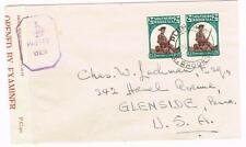 Southern Rhodesia SG#61(pair)-PLUMTREE 17/APR/43-WWII CENSOR TAPE D.E./.