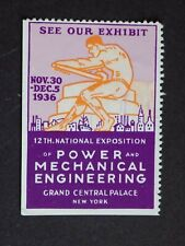 (1) mng 1936 New York National Exposition Power Mechanical Eng Cinderella Label