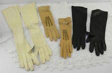 "(3) Pr Vintage Kid Leather Ladies Gloves Cream 18"" Camel 8"" Black 12"" Sz 6"