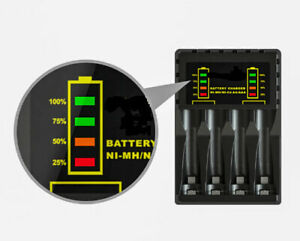 Charger 4 slots, with indicator for rechargeable AA/AAA Ni-MH/Ni-Cd batteries