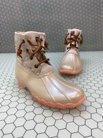 Sperry Top-Sider Saltwater Ivory Quilt/Rubber Lace Up Rain Boots Women's Size 4M