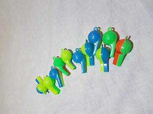 10x bunte Trillerpfeife Pfeife grün blau rot Flöte Kindergeburtstag Mitgebsel