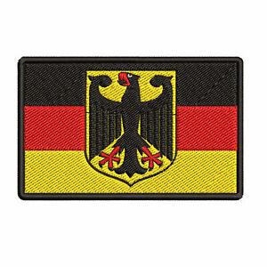 GERMAN FLAG embroidered hook PATCH GERMANY EMBLEM Deutschland Aufnäher NEW