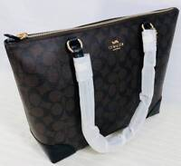 9e5e57b08628 COACH - Zip Top Tote in Signature Coated Canvas   Leather - Brown Black NWT