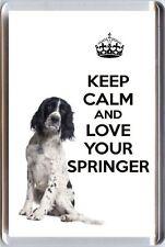 KEEP CALM AND LOVE YOUR SPRINGER Black White Springer Spaniel FRIDGE MAGNET