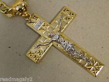 Men's Gold Rhodium 2 Tone Plated XLG Cross 30in Long 9mm Wide Figaro Chain Set