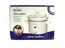 Rival Slow Cooker 2 Quart Crock Pot White Tempered Glass Top