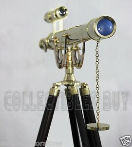 Vintage Solid Brass Adjustable Tripod Maritime Brass Telescope Master Harbor