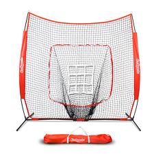 GoSports 7' x 7' Baseball & Softball Practice Hitting & Pitching Net with Bow
