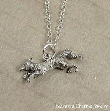 Silver Fox Charm Necklace - Wolf Coyote Wildlife Wild Animal Jewelry  NEW