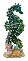 Kubla Crafts Enameled Seahorse Trinket Box, Accented with Austrian Crystals,...