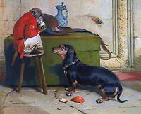 "Edward Landseer, Dachshund, Monkey, Dog, antique wall decor, 20""x16"" Art Print"