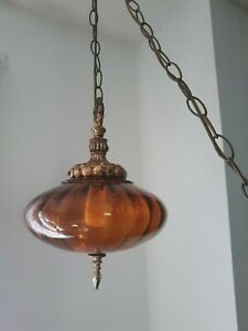 """Mid Century 70s Amber Glass Hollywood Regency Swag Lamp """"Flying Saucer"""""""