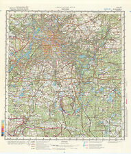 Russian Soviet Military Topographic Map – BERLIN (Germany) 1:200000, ed. 1980