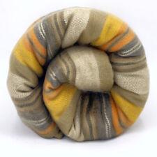 Soft and Warm Golden Brown Striped ALPACA Wool Blanket plaid queen throw