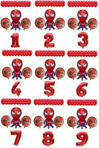 Spiderman Balloon Kit Spiderman 30'' Age Number Happy Birthday 14 Party Balloons
