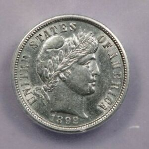 1892-P 1892 Barber Dime ICG AU58 Details