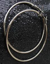 - Silver 6 cm Hoops Silver Ski 00004000 nny Smooth Round Hoop Earrings
