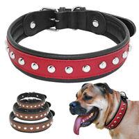 Genuine Leather Studded Dog Collar Soft Adjustable Medium Large Dogs Collar M-XL