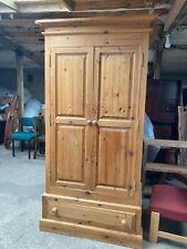 Solid Natural Pine Double Wardrobe with Drawer at the bottom