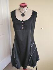 CHI Black White Stripe DRESS Size 16 Buttons Ribbon Sleeveless Gothic