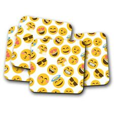 4 Set - Yellow Happy Faces Drinks Coaster - Teenager Student Kids Fun Gift #8401