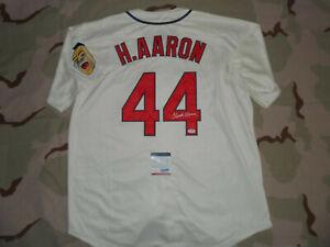 Hank Aaron Signed Autographed Jersey Milwaukee Atlanta Braves PSA/DNA cert