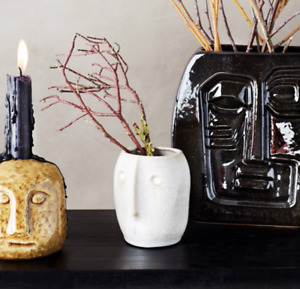 White Hani Face Pot, Ceramic Flower Pot Planter Vase Face Head imprint Design
