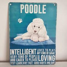 WHITE POODLE  METAL CHIC N SHABBY DOG SIGN LOVES TO PLAY