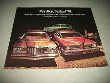 1974 PONTIAC SAFARI SALES  BROCHURE CANADIAN  MARKET ISSUE NO DEALER STAMP