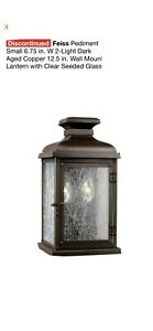 Feiss Pediment 6.75-in W 1-Light Dark Weathered Zinc Transitional Wall Sconce
