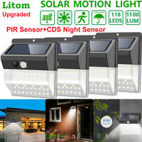 118 LED Solar Light Outdoor Motion Sensor Waterproof Garden Garage Security Lamp