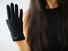 100% Wool Gloves Faux Leather Trim Bows Knitting Black Brown Gray Pink Handmade