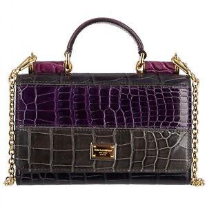 DOLCE & GABBANA Crocodile Leather Mini Phone Clutch Bag SICILY Purple Gray 08955