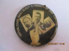 "1904 Cello Pin Button 1 1/4"" TEDDY ROOSEVELT FAIRBANKS & CASSEL  TRIGATE ROO183"