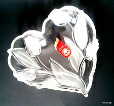 Mikasa Walther Glas Heart Shaped Juliana Pattern Frosted Tulips Glass Heart Dish