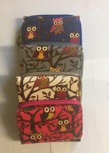LADIES WOMEN CLUTCH PURSE WALLET CARD SLOTS COIN ZIP AROUND OWLS