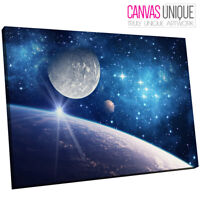 SC649 blue space planets moon Scenic Wall Art Picture Large Canvas Print