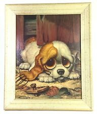 "Dog Art by Gig ""Pity Puppy"" Large Sad Eyes Vintage Framed Big Eyes 1960s 10 x 14"
