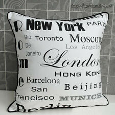 "New York City Name Canvas Throw Pillow Case Decorative Cushion Cover 18""x18"" - W"