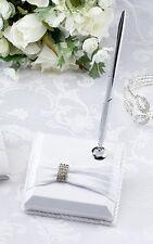 White Sash Rhinestone Pen Set Wedding Reception Pen