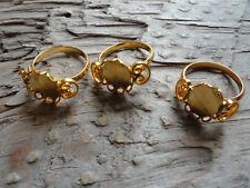 Mushroom Adjustable Ring Gold Plated 8x10mm Bezel (Pkg 3) 0199