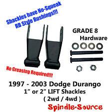 "97 - 03 Dodge Durango 2wd / 4wd 1"" 2in Lift Shackles +GRADE 8 Hardware NO SQUEAK"