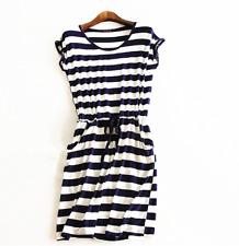 Summer Women Casual Stripe Tank Sleeveless Dress Ladies Casual Cotton Mini Dress