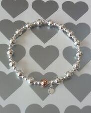Handmade Sterling Silver & Rose Gold Beaded Stretch Bracelet