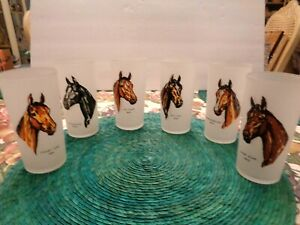 6) FROSTED GLASSES W/HAND PAINTED VINTAGE DERBY WINNER HORSES' HEAD